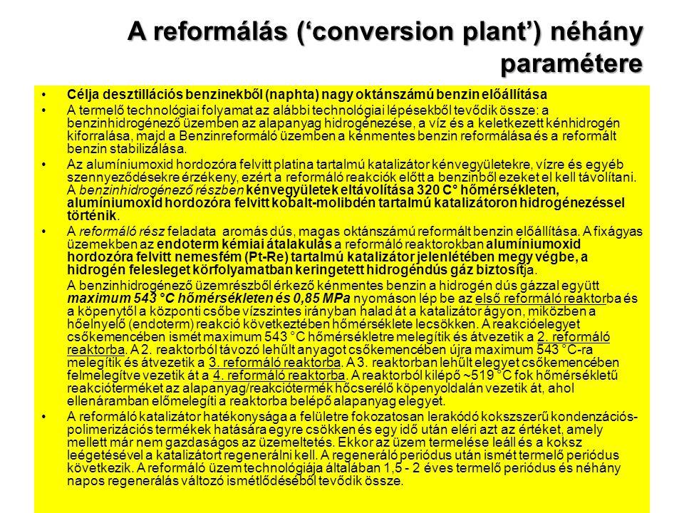 A reformálás ('conversion plant') néhány paramétere