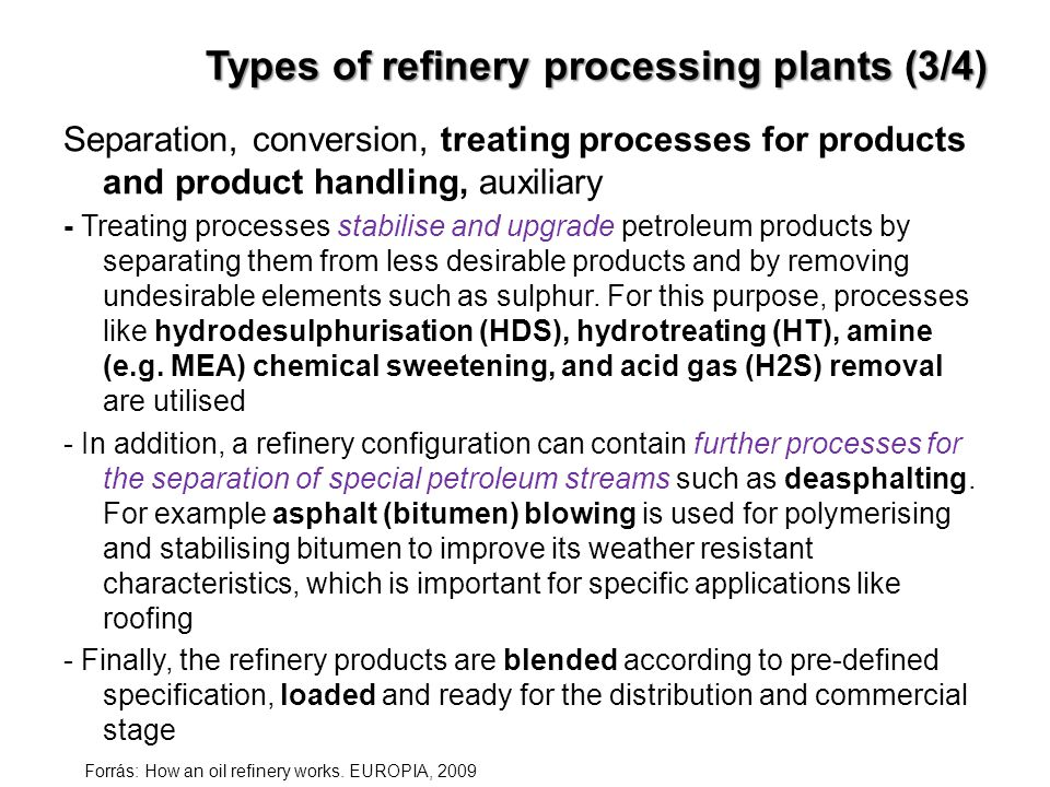 Types of refinery processing plants (3/4)