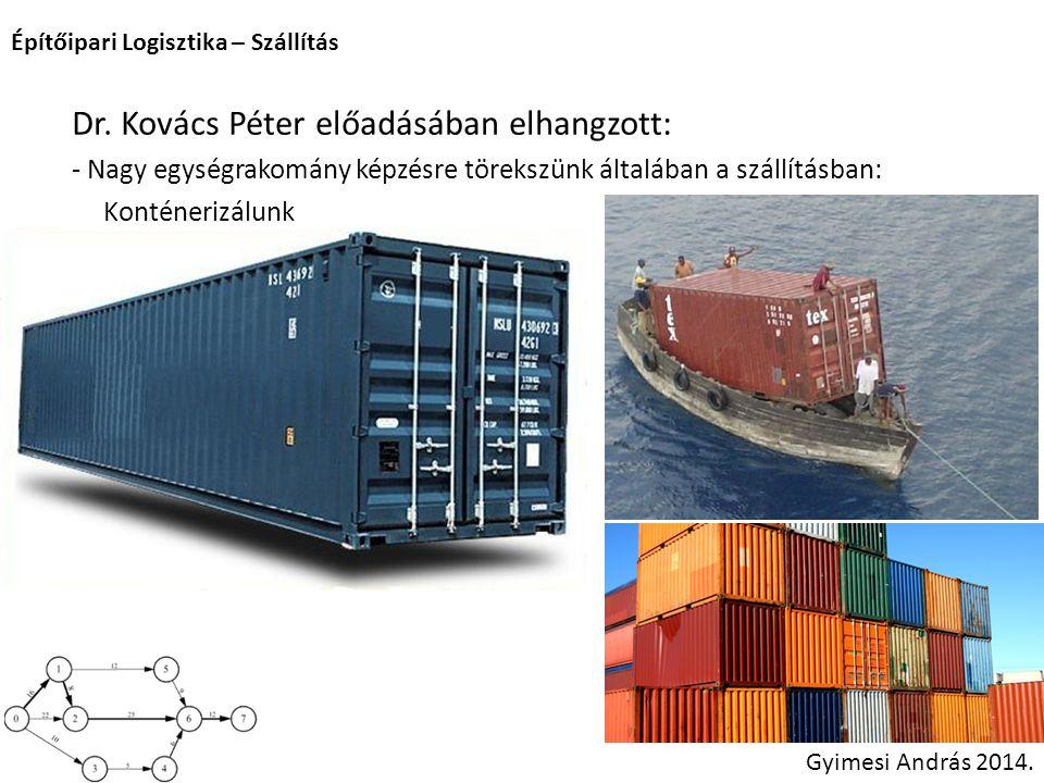 Dr. Kovács Péter előadásában elhangzott: