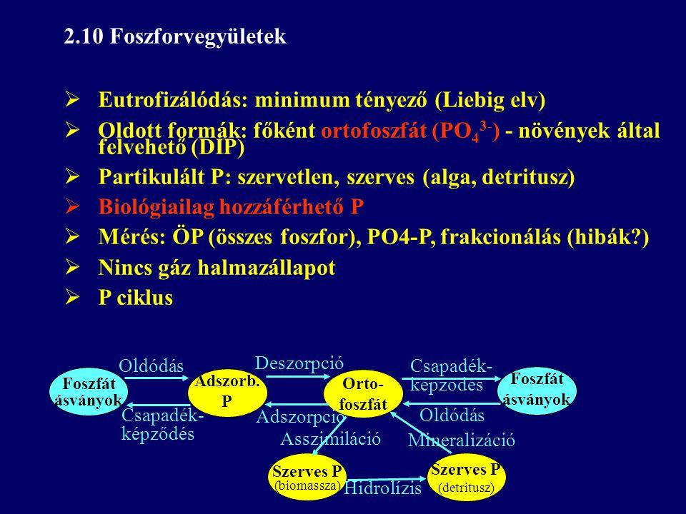 Eutrofizálódás: minimum tényező (Liebig elv)