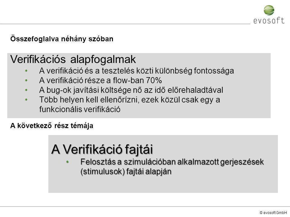A Verifikáció fajtái Verifikációs alapfogalmak