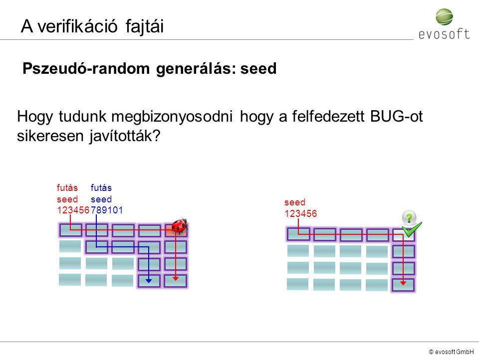 A verifikáció fajtái Pszeudó-random generálás: seed