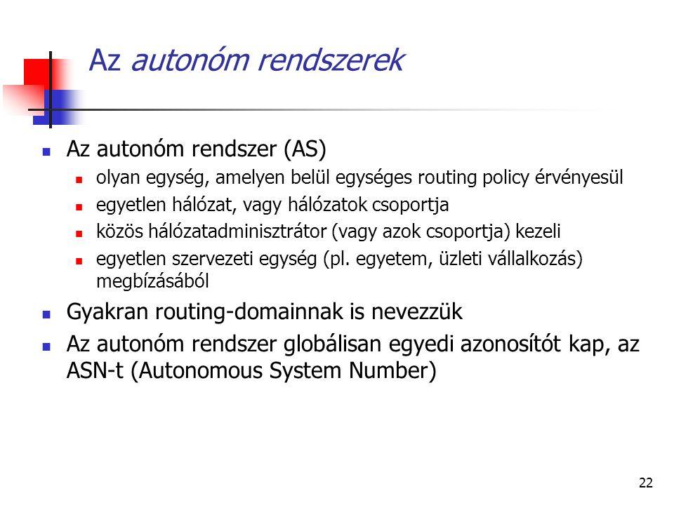 Az autonóm rendszerek Az autonóm rendszer (AS)