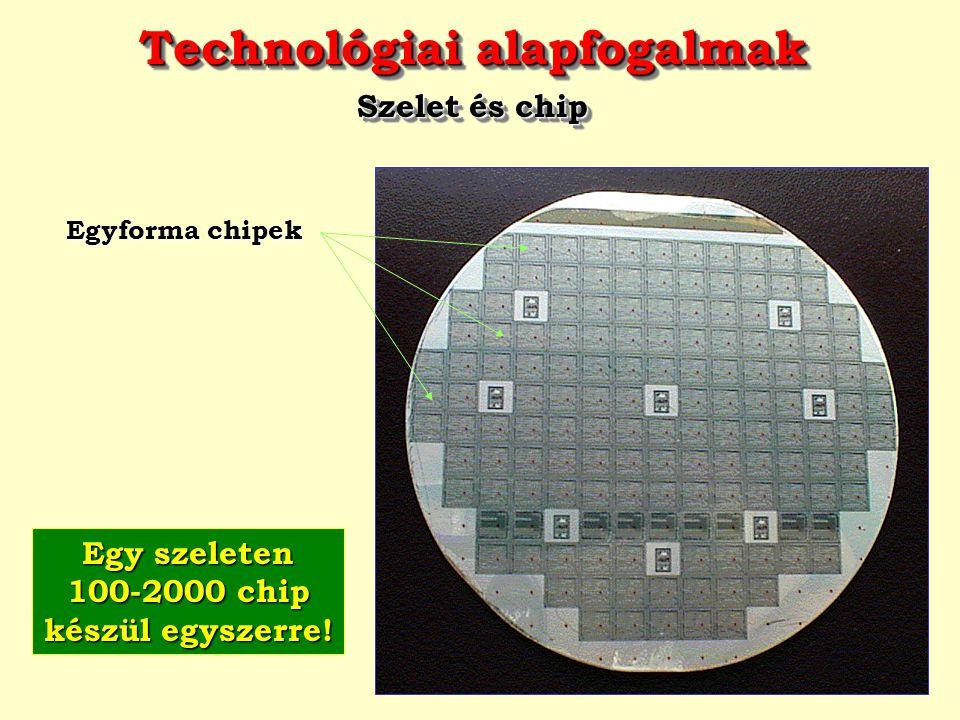 Technológiai alapfogalmak Egy szeleten 100-2000 chip készül egyszerre!