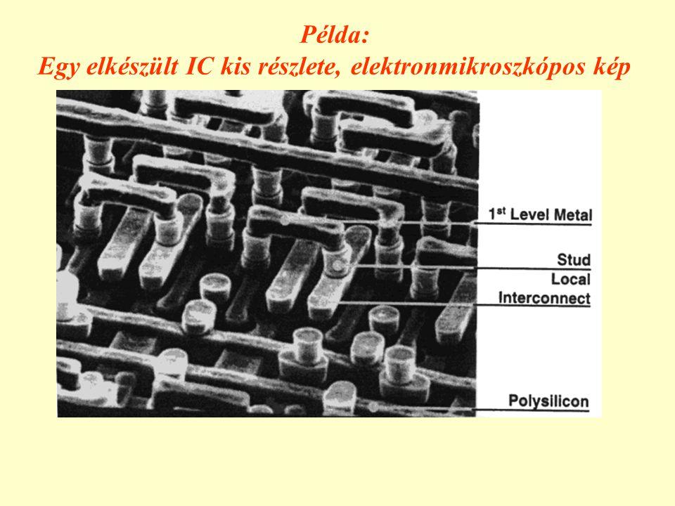 Egy elkészült IC kis részlete, elektronmikroszkópos kép
