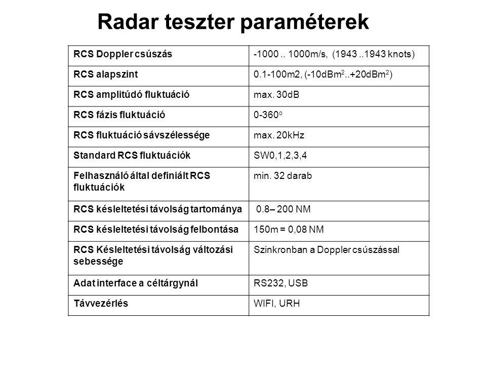 Radar teszter paraméterek