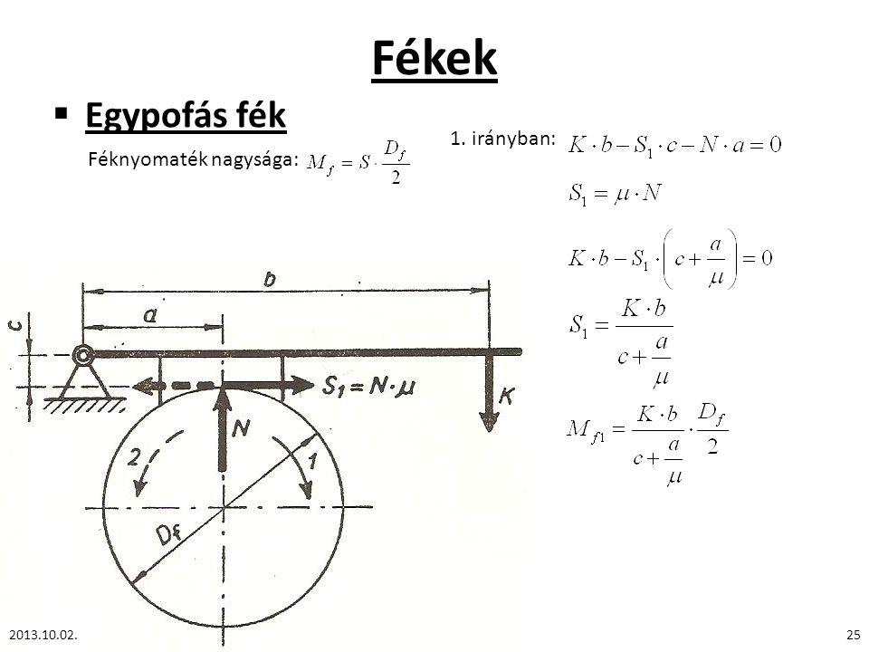Fékek Egypofás fék 1. irányban: Féknyomaték nagysága: 2013.10.02.