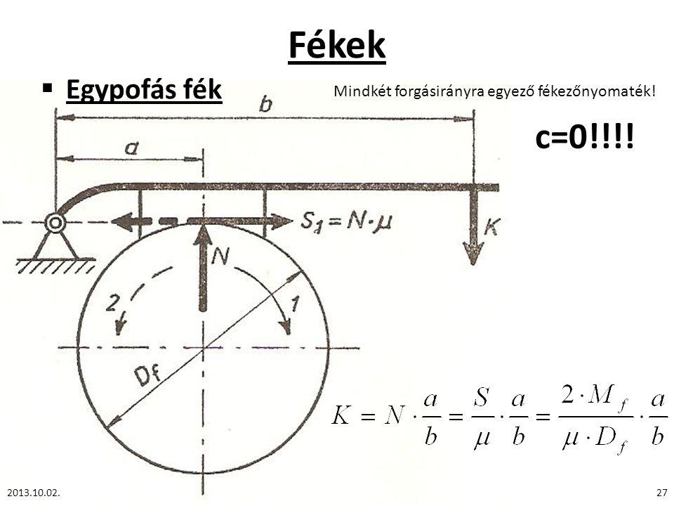 Fékek Egypofás fék Mindkét forgásirányra egyező fékezőnyomaték! c=0!!!! 2013.10.02.