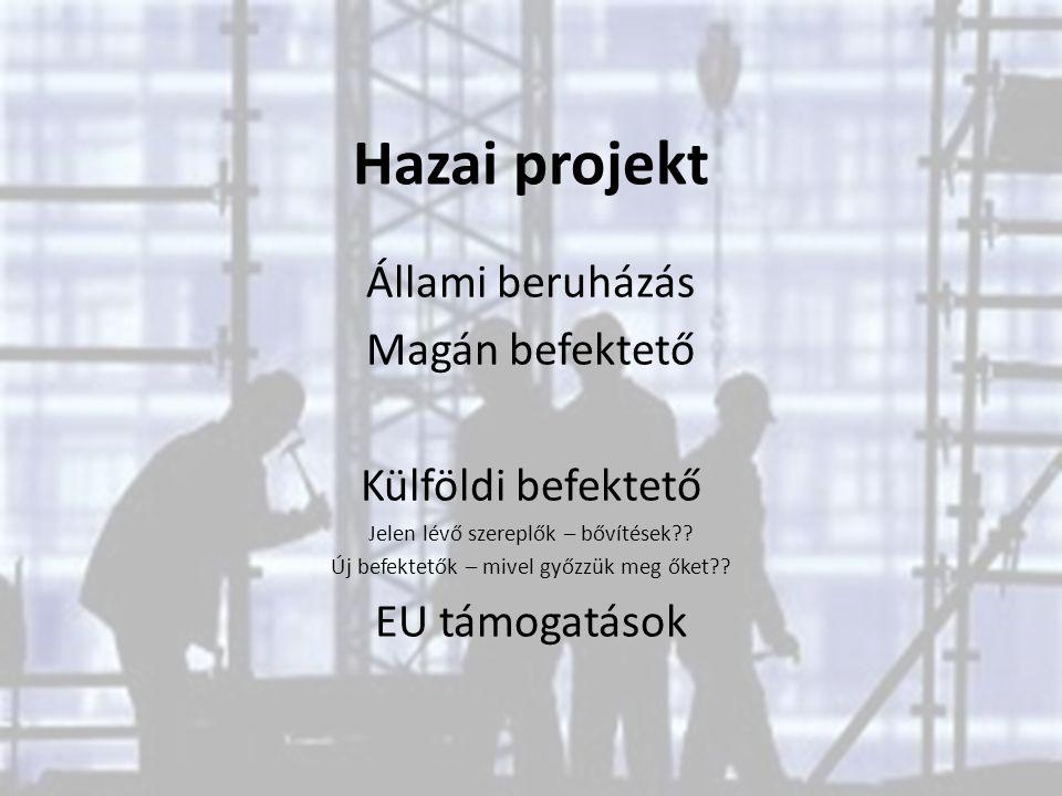 Hazai projekt Állami beruházás Magán befektető Külföldi befektető