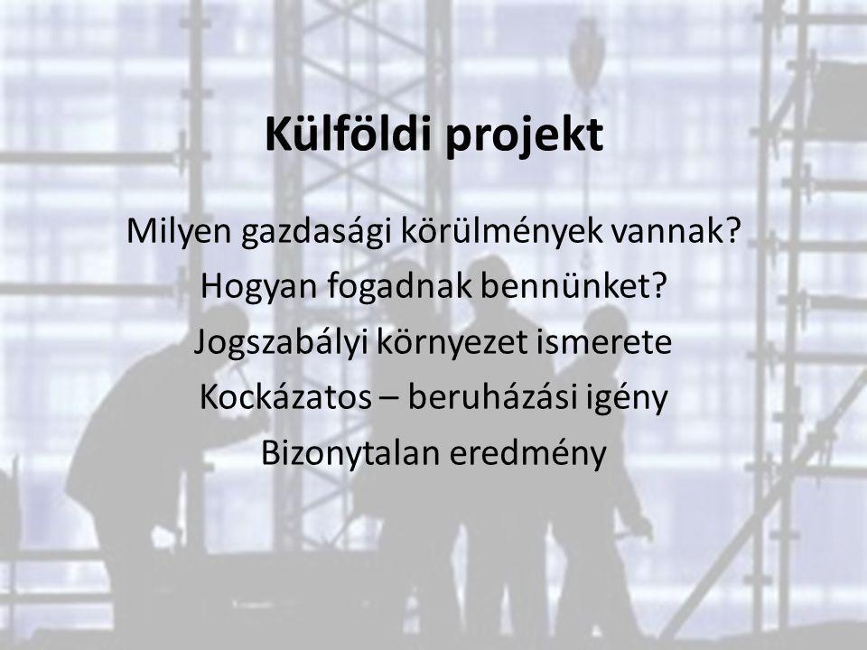 Külföldi projekt Milyen gazdasági körülmények vannak