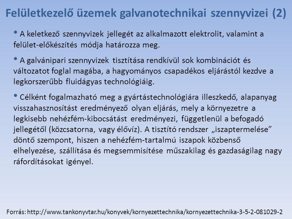 Felületkezelő üzemek galvanotechnikai szennyvizei (2)