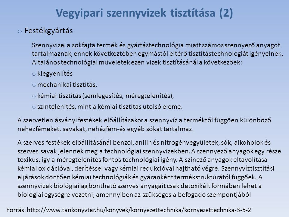 Vegyipari szennyvizek tisztítása (2)