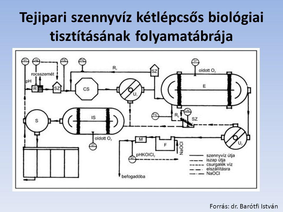 Tejipari szennyvíz kétlépcsős biológiai tisztításának folyamatábrája