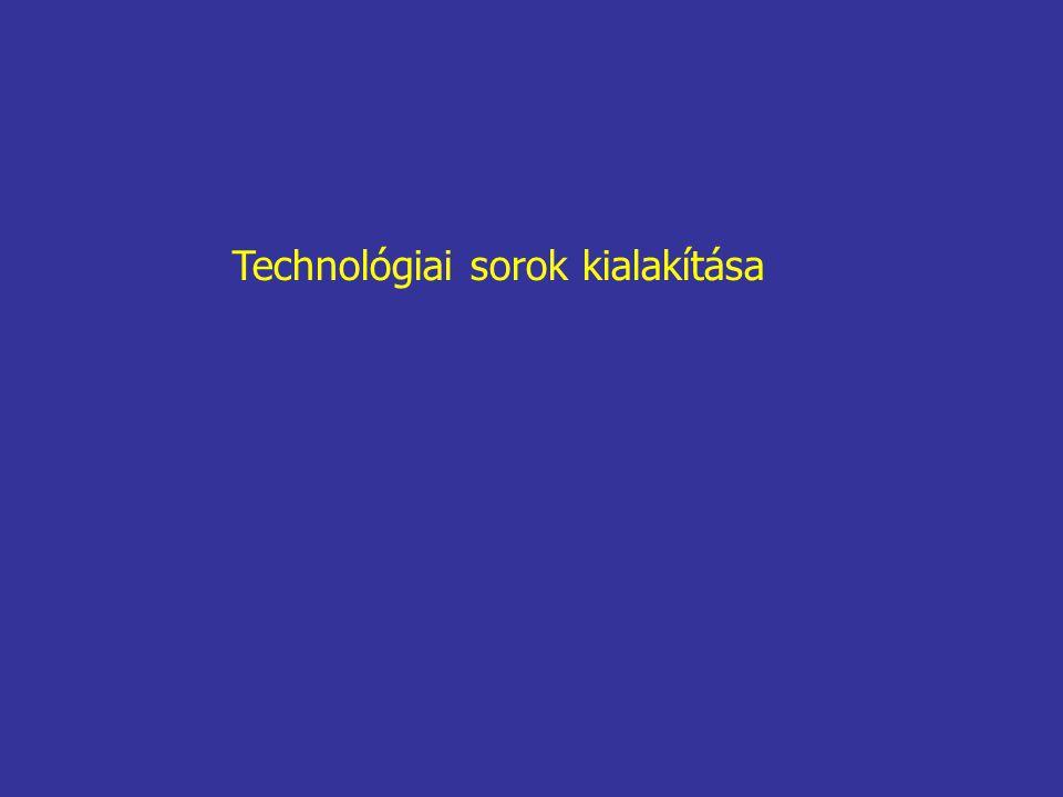 Technológiai sorok kialakítása