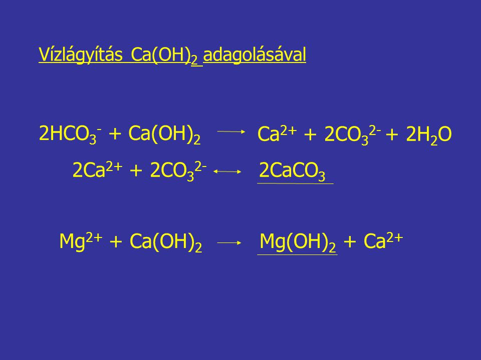 2HCO3- + Ca(OH)2 Ca2+ + 2CO32- + 2H2O 2Ca2+ + 2CO32- 2CaCO3
