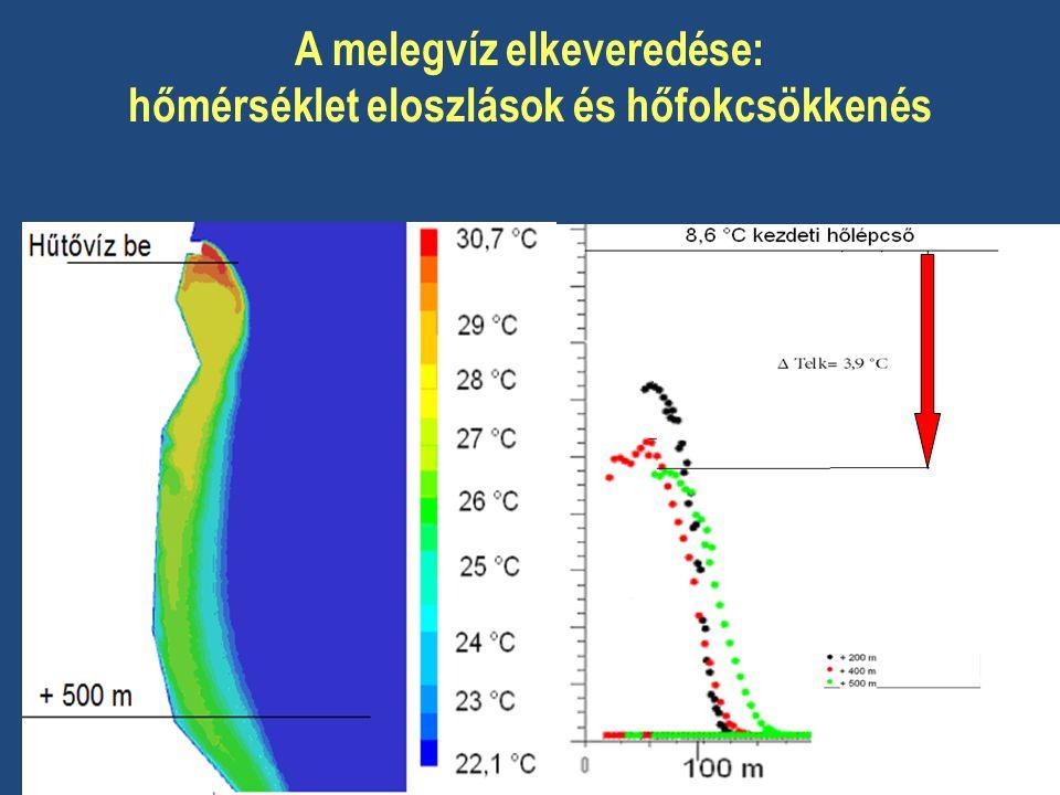 A melegvíz elkeveredése: hőmérséklet eloszlások és hőfokcsökkenés
