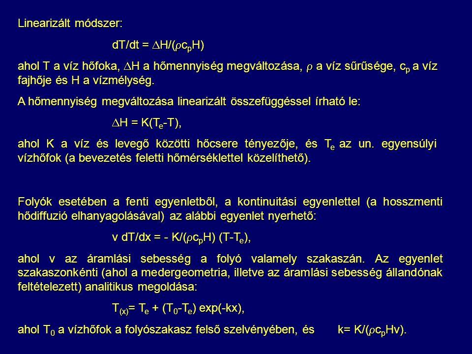Linearizált módszer: dT/dt = H/(cpH) ahol T a víz hőfoka, H a hőmennyiség megváltozása,  a víz sűrűsége, cp a víz fajhője és H a vízmélység.