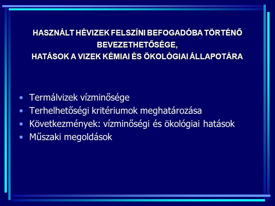 HASZNÁLT HÉVIZEK FELSZÍNI BEFOGADÓBA TÖRTÉNŐ BEVEZETHETŐSÉGE,