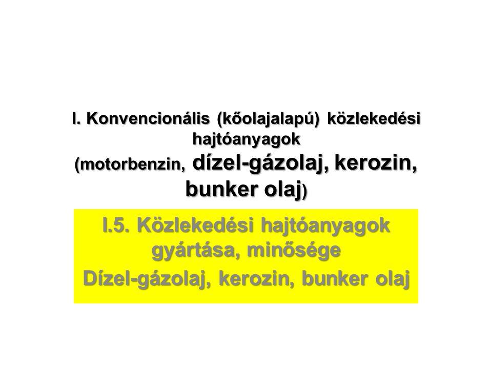 I.5. Közlekedési hajtóanyagok gyártása, minősége
