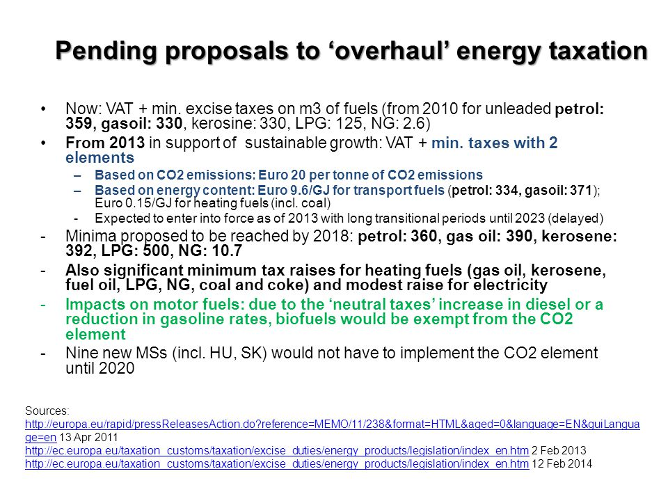 Pending proposals to 'overhaul' energy taxation