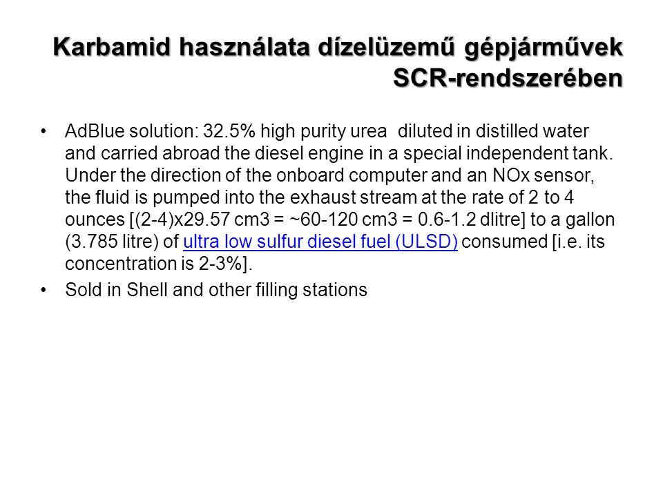 Karbamid használata dízelüzemű gépjárművek SCR-rendszerében