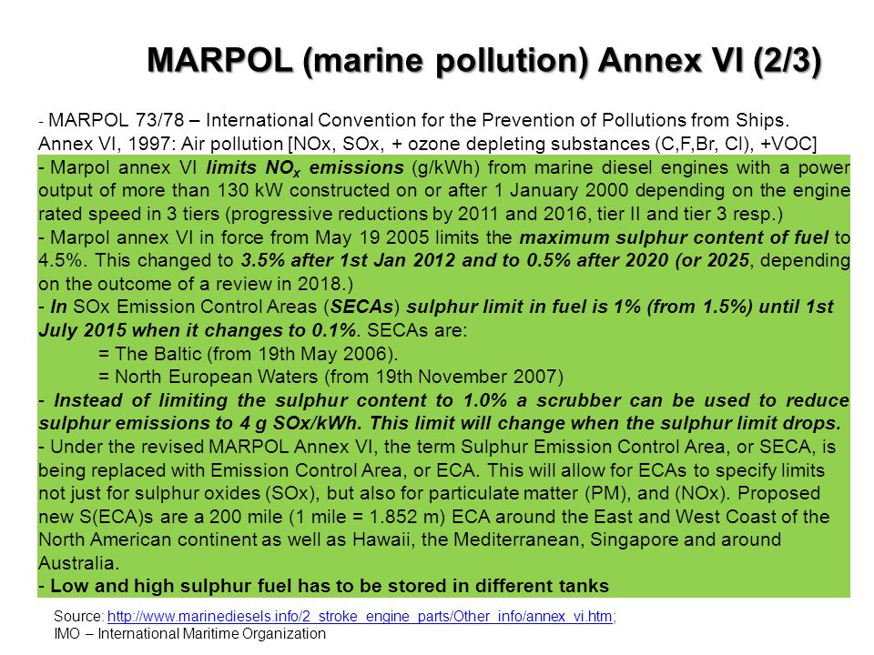 MARPOL (marine pollution) Annex VI (2/3)