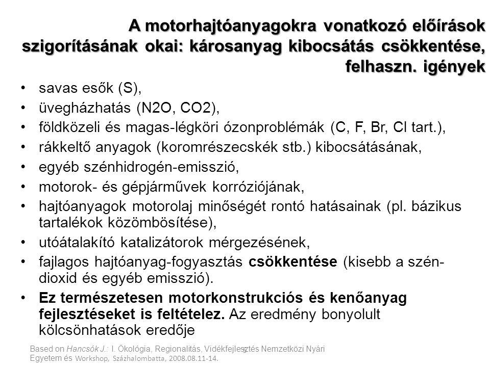 A motorhajtóanyagokra vonatkozó előírások szigorításának okai: károsanyag kibocsátás csökkentése, felhaszn. igények