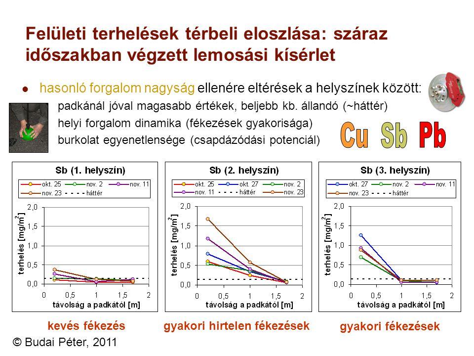 Felületi terhelések térbeli eloszlása: száraz időszakban végzett lemosási kísérlet