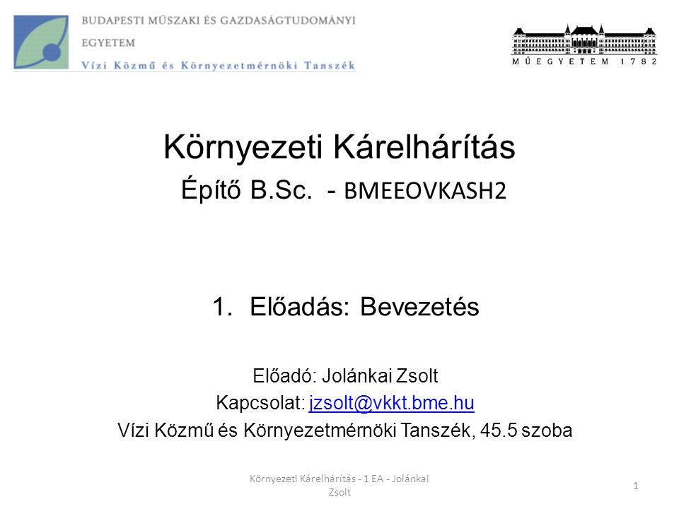 Környezeti Kárelhárítás Építő B.Sc. - BMEEOVKASH2