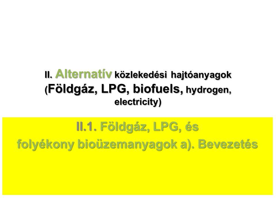 II.1. Földgáz, LPG, és folyékony bioüzemanyagok a). Bevezetés