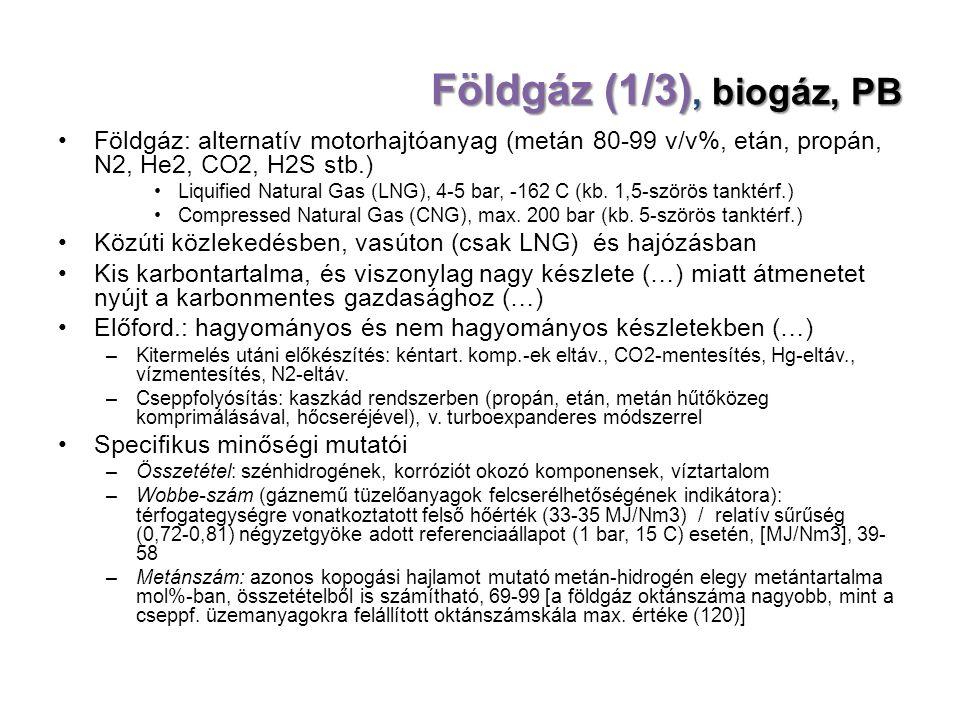 Földgáz (1/3), biogáz, PB Földgáz: alternatív motorhajtóanyag (metán 80-99 v/v%, etán, propán, N2, He2, CO2, H2S stb.)