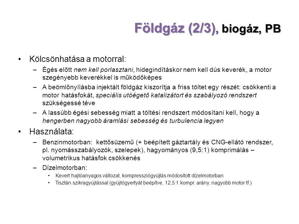 Földgáz (2/3), biogáz, PB Kölcsönhatása a motorral: Használata: