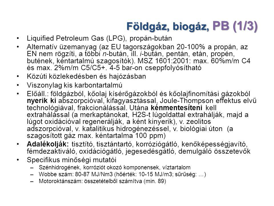 Földgáz, biogáz, PB (1/3) Liquified Petroleum Gas (LPG), propán-bután