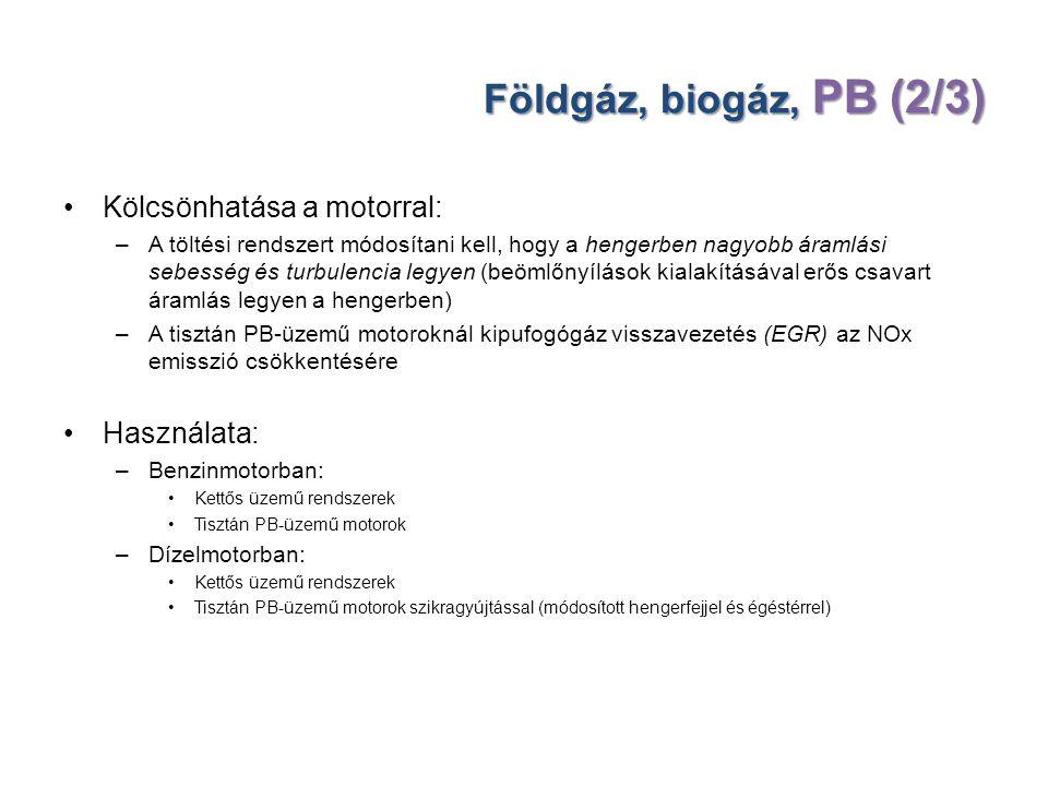 Földgáz, biogáz, PB (2/3) Kölcsönhatása a motorral: Használata: