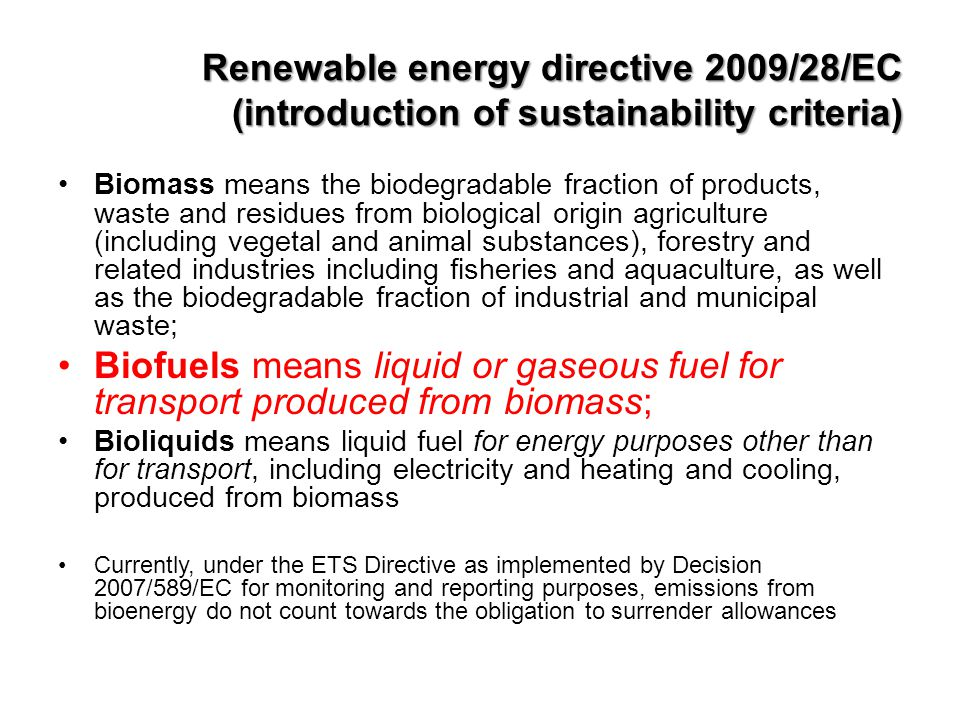 Renewable energy directive 2009/28/EC (introduction of sustainability criteria)