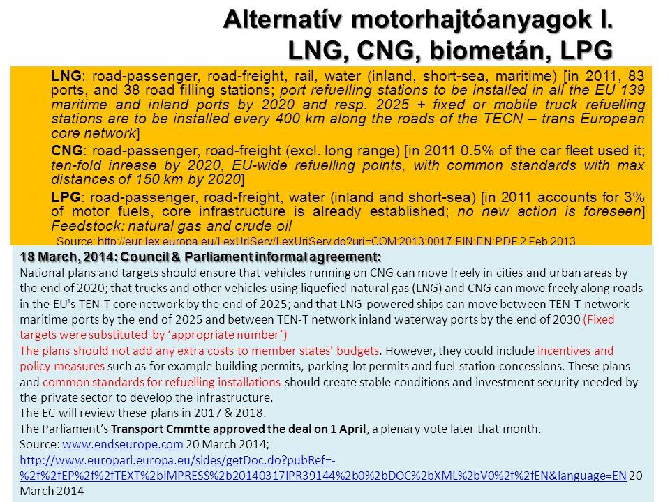 Alternatív motorhajtóanyagok I. LNG, CNG, biometán, LPG
