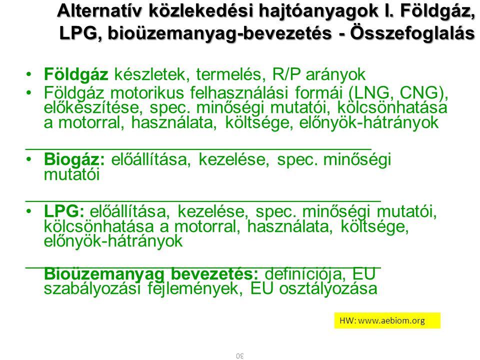 Alternatív közlekedési hajtóanyagok I