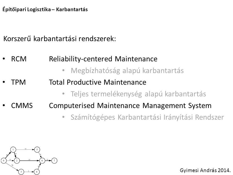 Korszerű karbantartási rendszerek: