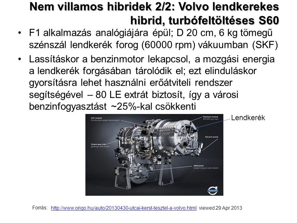 Nem villamos hibridek 2/2: Volvo lendkerekes hibrid, turbófeltöltéses S60