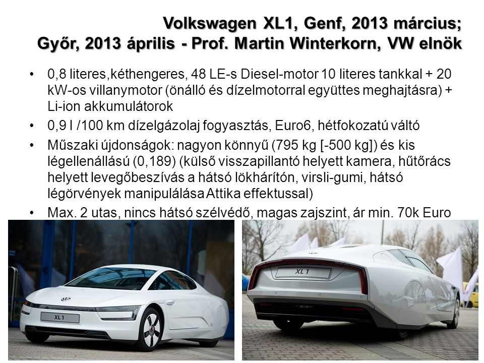 Volkswagen XL1, Genf, 2013 március; Győr, 2013 április - Prof