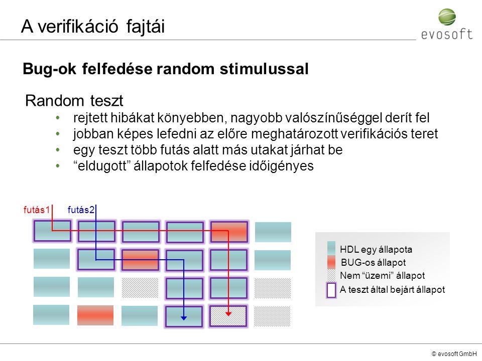 A verifikáció fajtái Bug-ok felfedése random stimulussal Random teszt