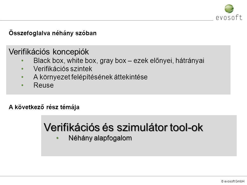 Verifikációs és szimulátor tool-ok