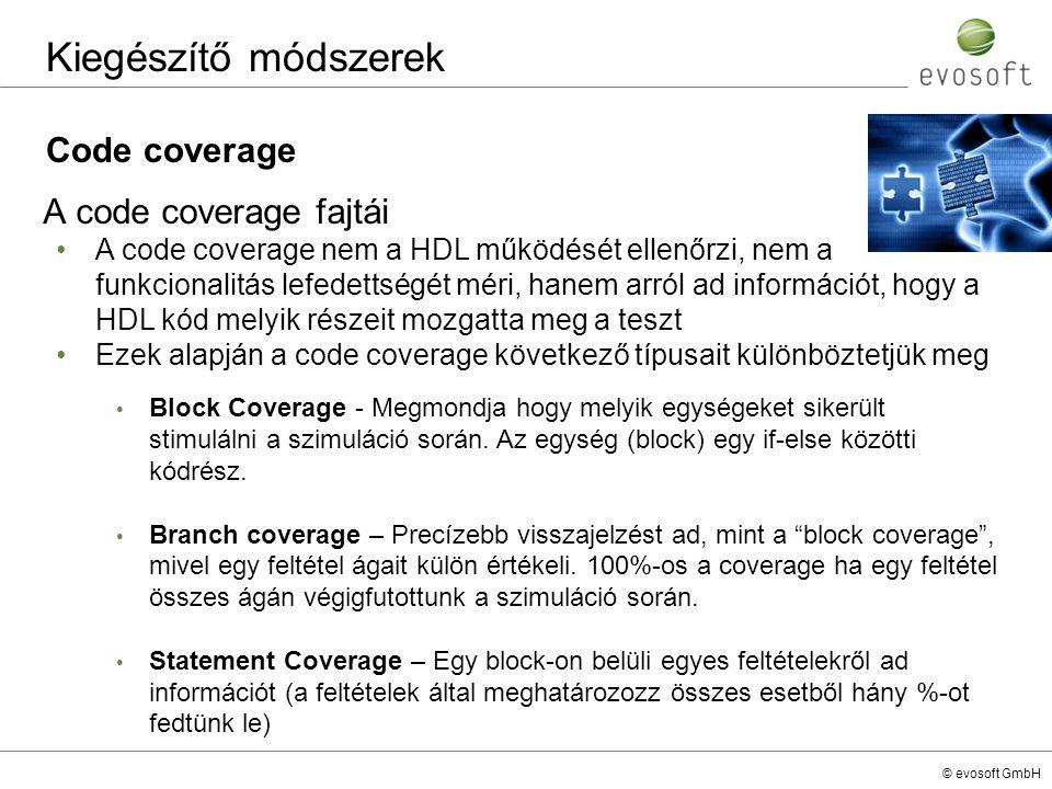Kiegészítő módszerek Code coverage A code coverage fajtái