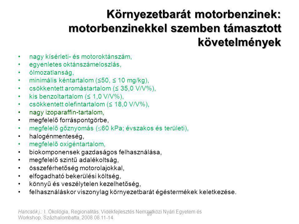 Környezetbarát motorbenzinek: motorbenzinekkel szemben támasztott követelmények