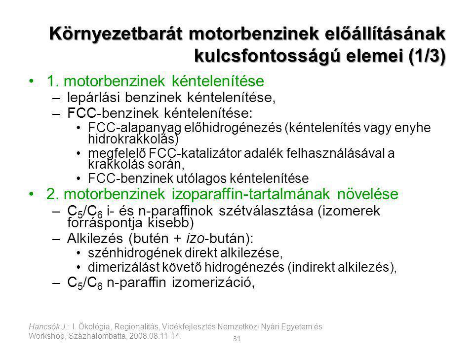 Környezetbarát motorbenzinek előállításának kulcsfontosságú elemei (1/3)
