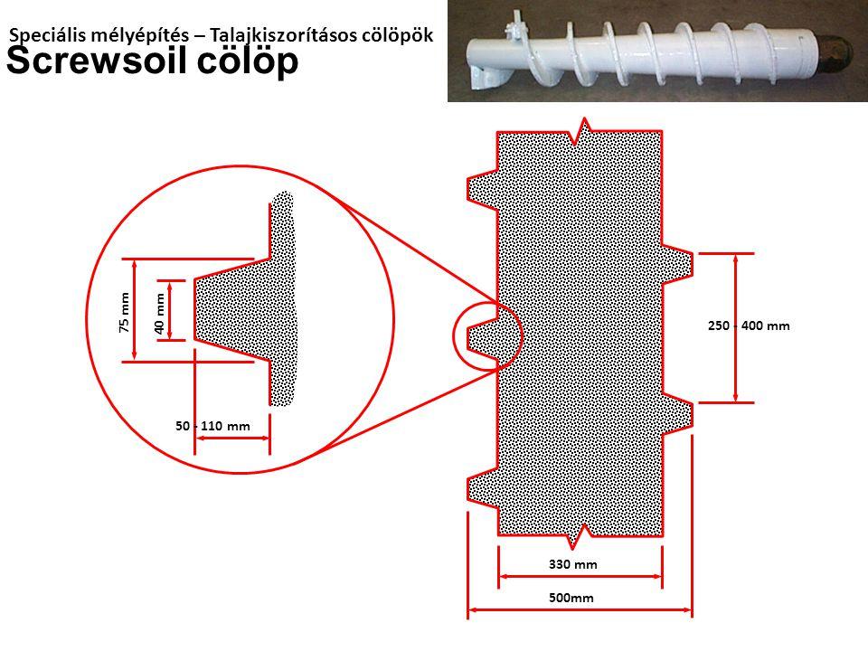 Screwsoil cölöp Speciális mélyépítés – Talajkiszorításos cölöpök 75 mm