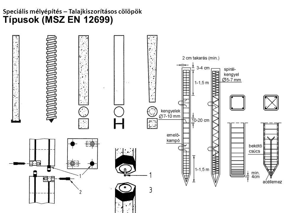 Típusok (MSZ EN 12699) Speciális mélyépítés – Talajkiszorításos cölöpök