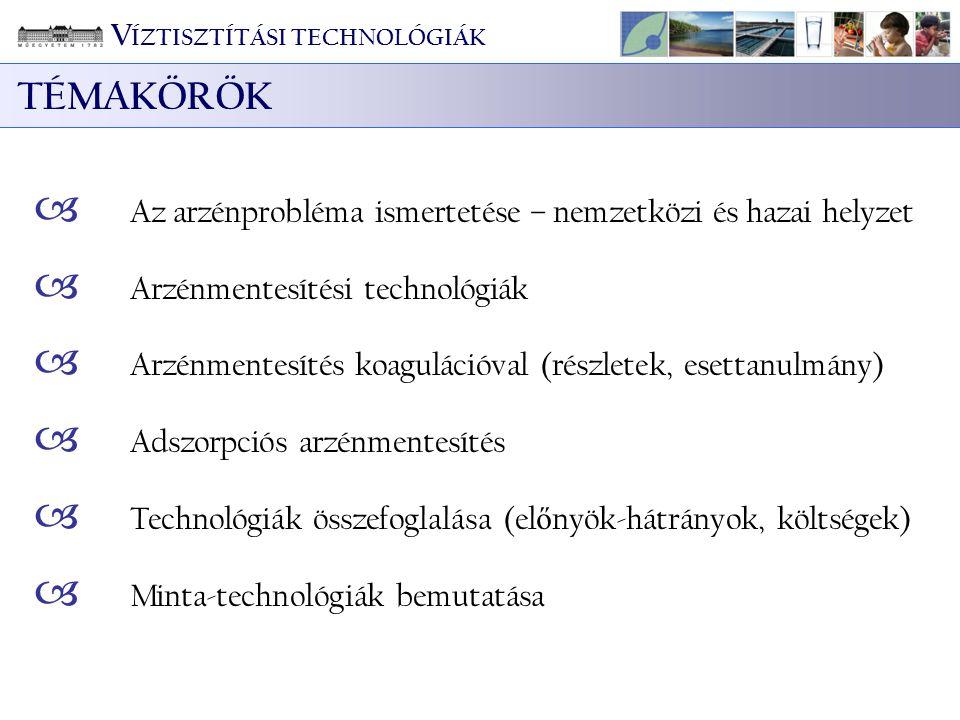 TÉMAKÖRÖK VÍZTISZTÍTÁSI TECHNOLÓGIÁK