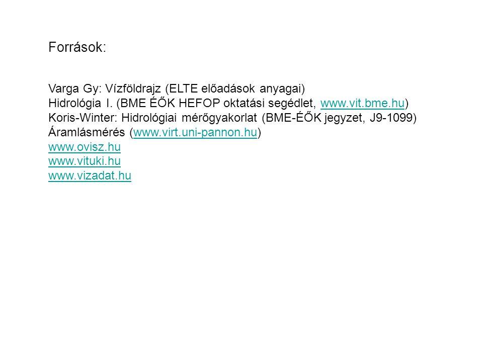 Források: Varga Gy: Vízföldrajz (ELTE előadások anyagai)