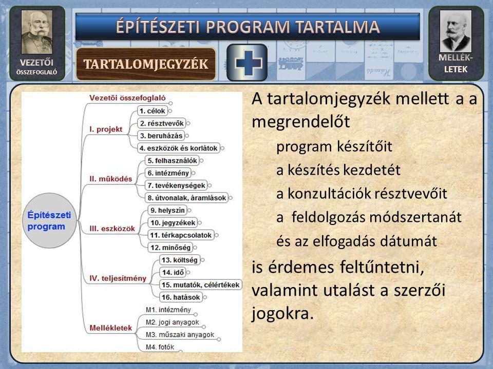 ÉPÍTÉSZETI PROGRAM TARTALMA